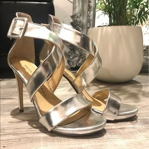 CHINESE LAUNDRY silver heel size 6.5 worn once!